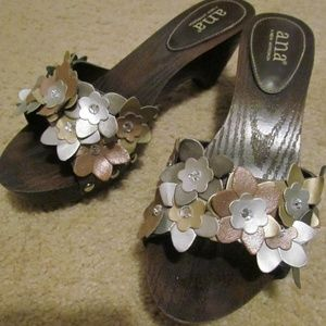 a.n.a. Wooden Clogs w/ Metallic Leather Flowers